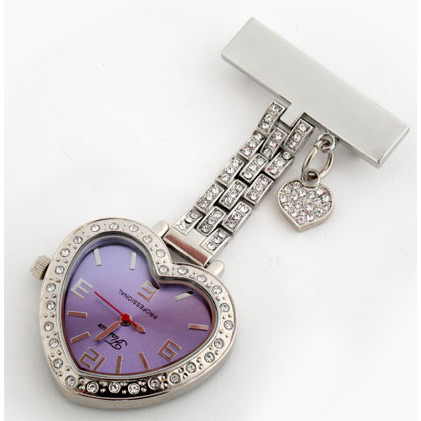 Metal nurse watch - heartshaped with shinning stones NS1012