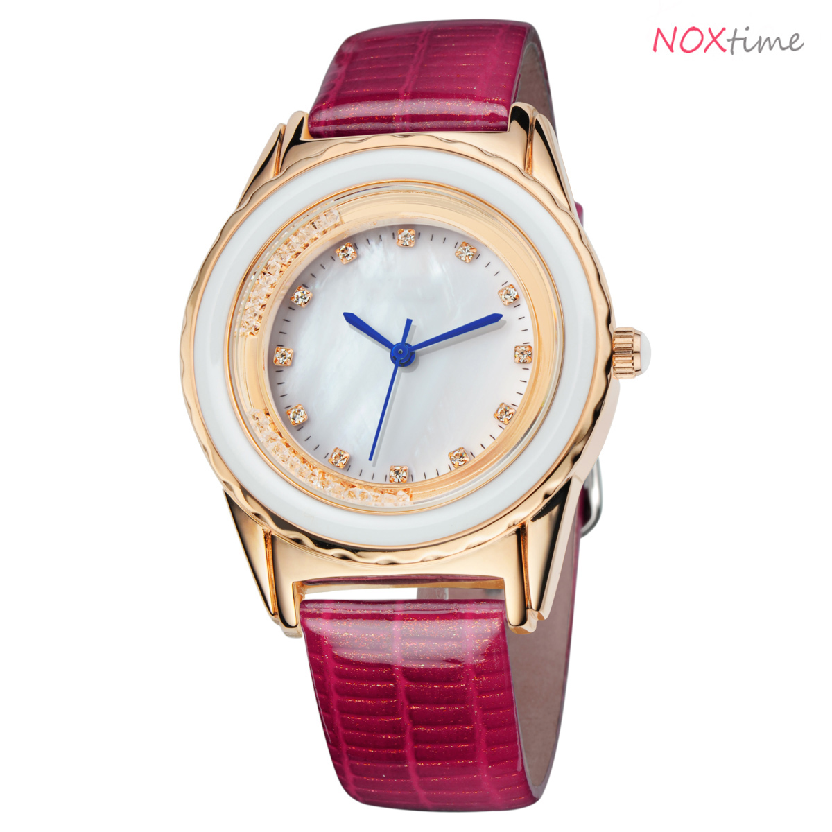 #2512 PU Leather Strap Shell Dial Watch Quartz Wrist Watch Best Birthday Gift for Women( rose red)